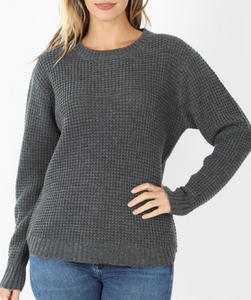 Madison Waffle Knit Sweater in Dark Grey