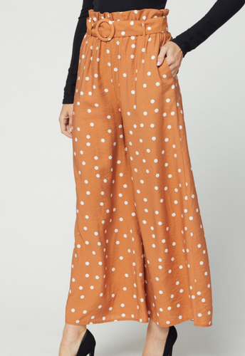 Terra Cotta Polka Dot Paperbag Pants