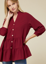 One And Only Tiered Top in Burgundy