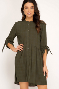Autumn Awaits Woven Dress in Olive