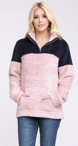 Lattes and Smores Sherpa Pullover in Navy Blush