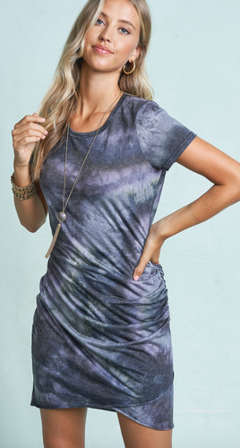 Yours Truly Tie Dye Mini Dress in Charcoal