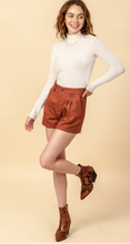 Madison Square Mid Waist Shorts in Rust