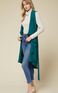 Central Park Draped Duster in Hunter Green