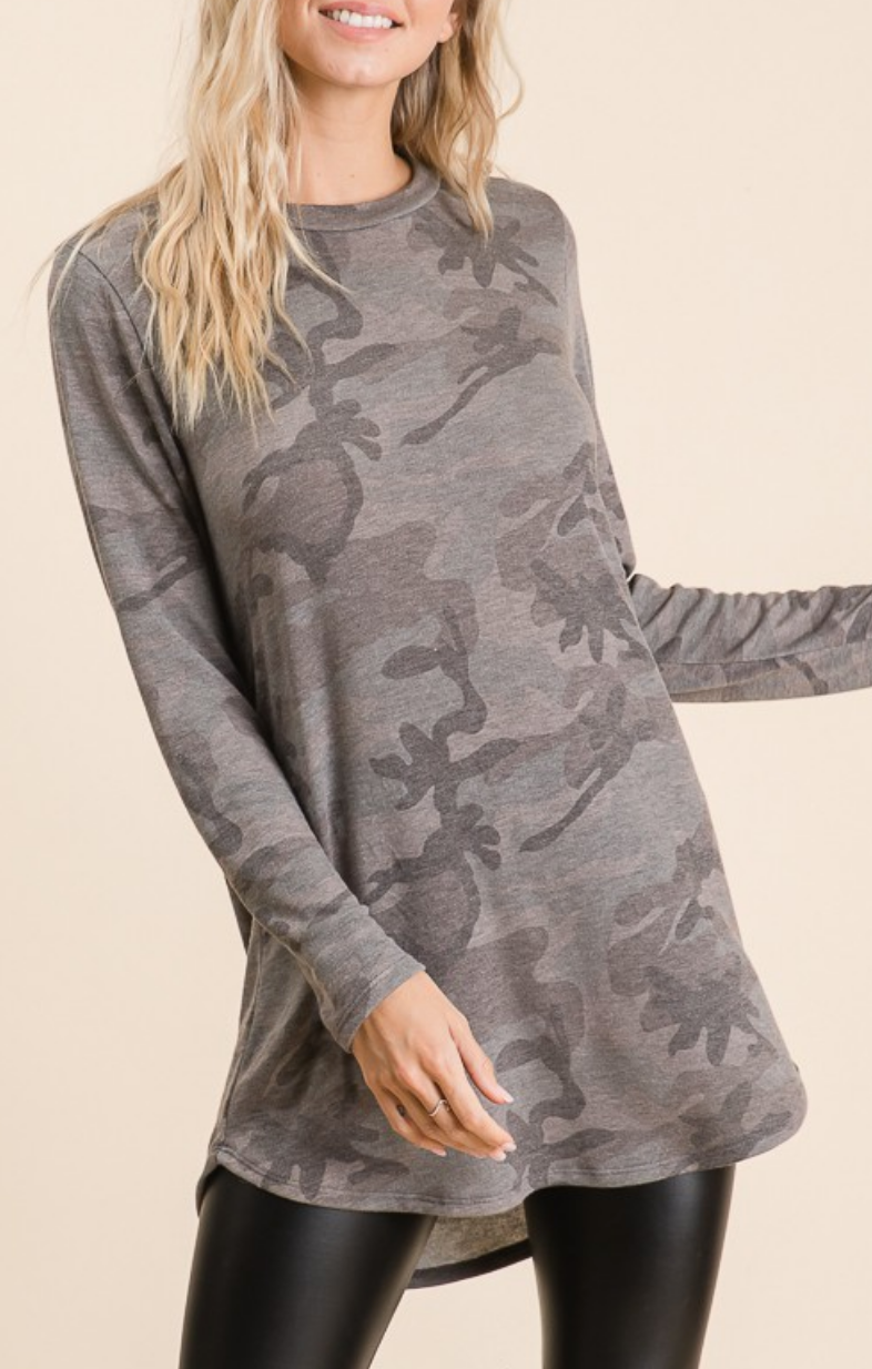 Hide Away Camo French Terry Top
