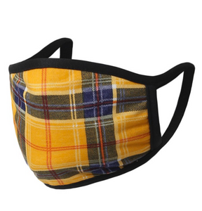 Falling For Plaid Face Mask in Mustard