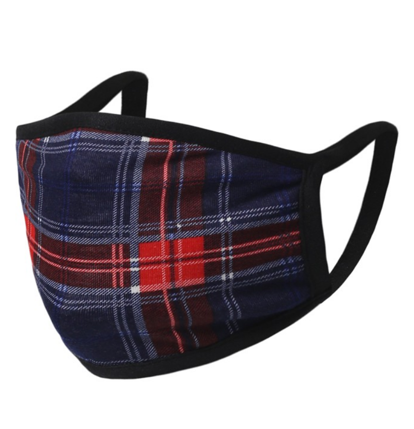 Falling For Plaid Face Mask in Navy