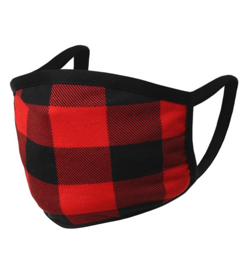 Falling For Plaid Face Mask in Red