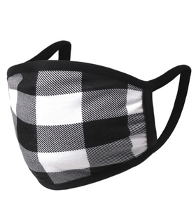 Falling For Plaid Face Mask in Black