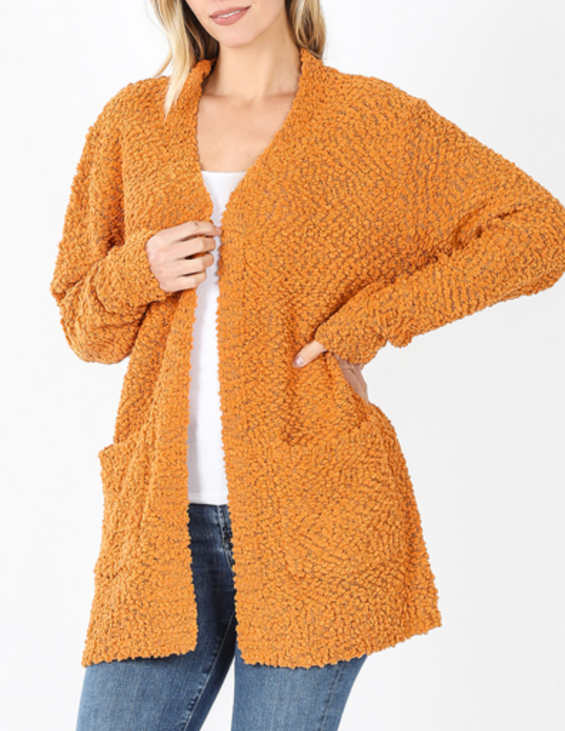 Day By Day Popcorn Cardigan in Mustard