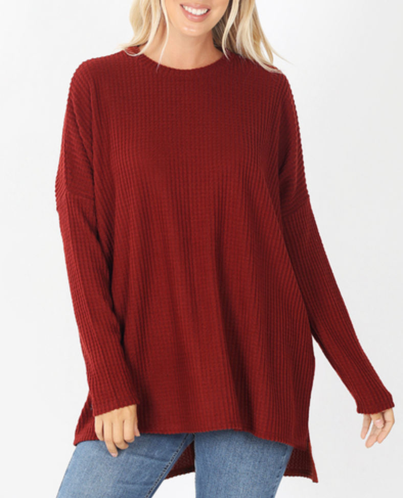 Sunday Brunching Waffle Knit Thermal in Rust