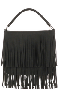 Magnolia Fringe Bag in Black