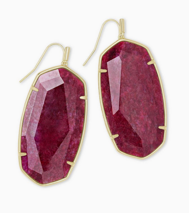 Faceted Danielle Gold Statement Earrings in Raspberry Labradorite