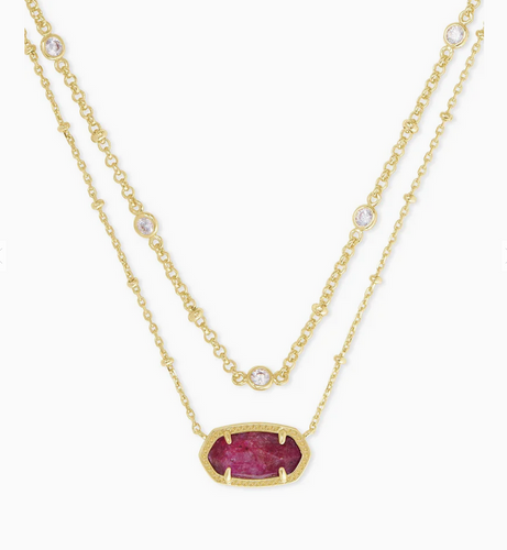 Elisa Gold Multi Strand Necklace in Raspberry Labradorite