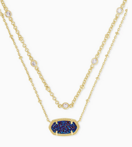 Elisa Gold Multi Strand Necklace in Indigo Blue Drusy