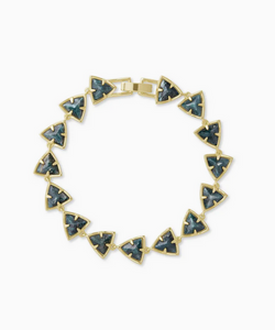 Perry Gold Link Bracelet in Green Apatite