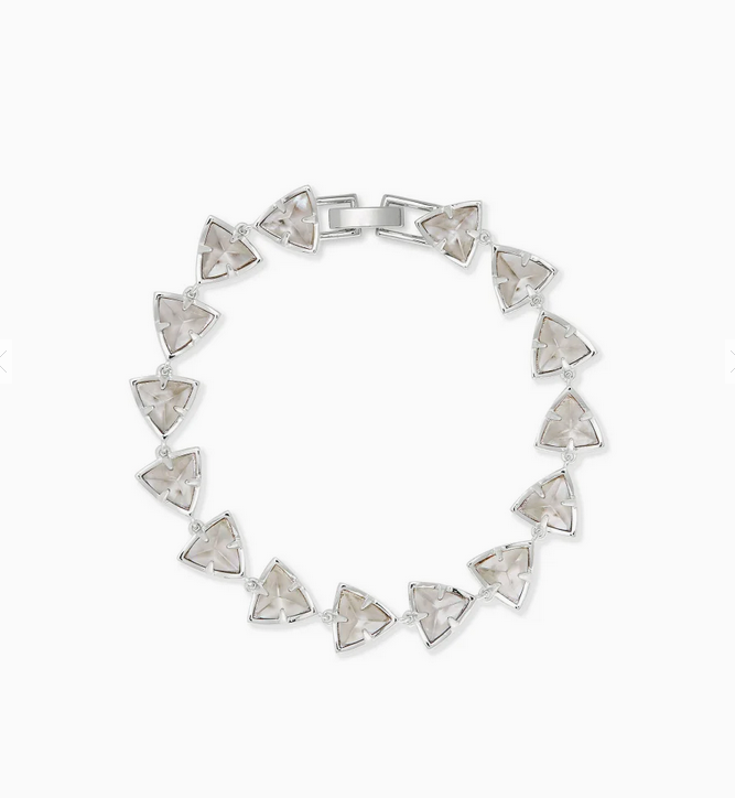 Perry Silver Link Bracelet in Gray Illusion