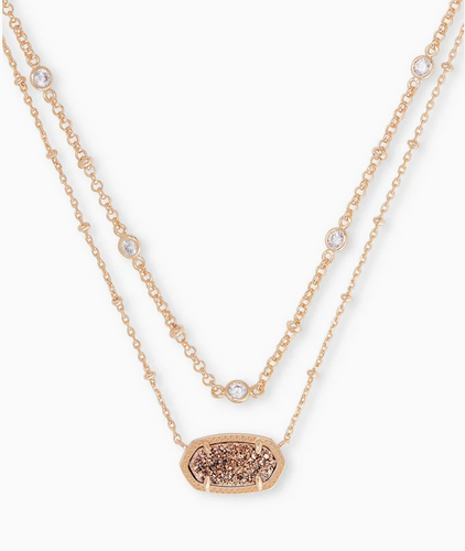 Elisa Rose Gold Multi Strand Necklace in Rose Gold Drusy