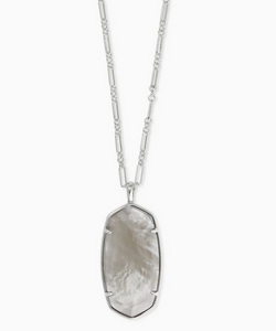 Faceted Reid Silver Long Pendant Necklace in Gray Illusion