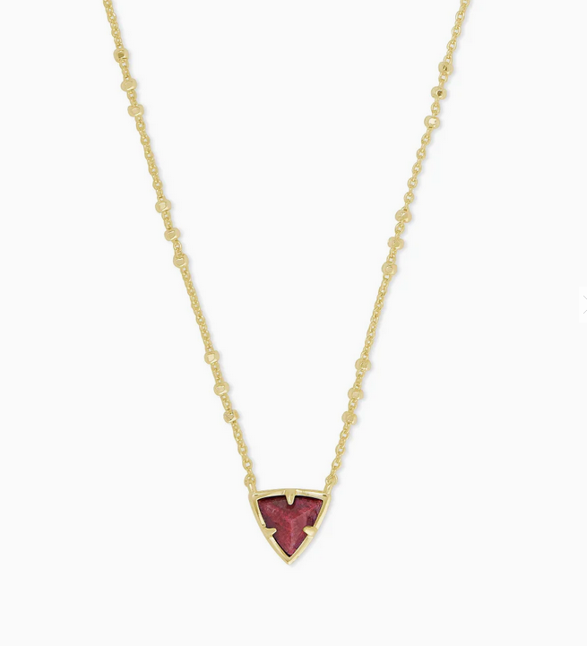 Perry Short Pendant Necklace in Gold Raspberry