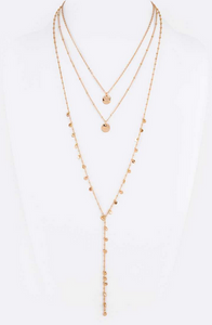 Mix Disk Layer Long Necklace