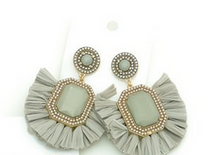 Embellished Raffia Statement Earrings