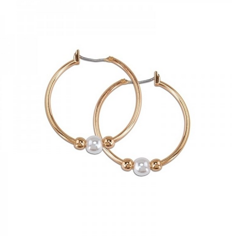 Rose Gold Hoops with Pearls