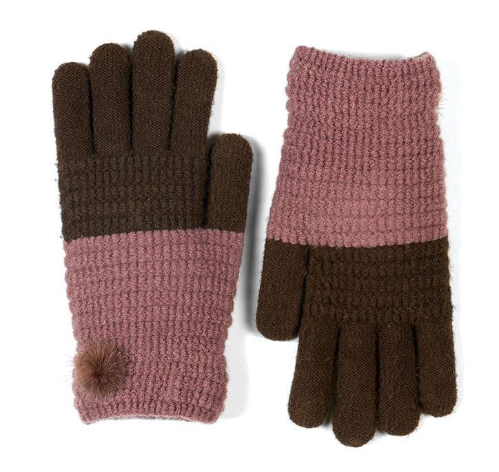 Stretch Knit Fur Pom Gloves