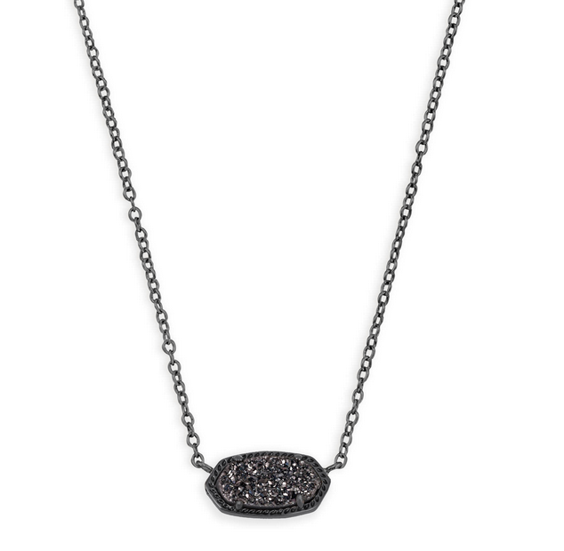 Elisa Gunmetal necklace with black Drusy