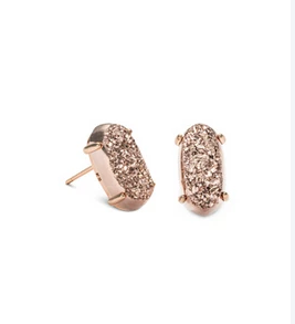 Betty Earring Rose Gold in Rose Gold Drusy