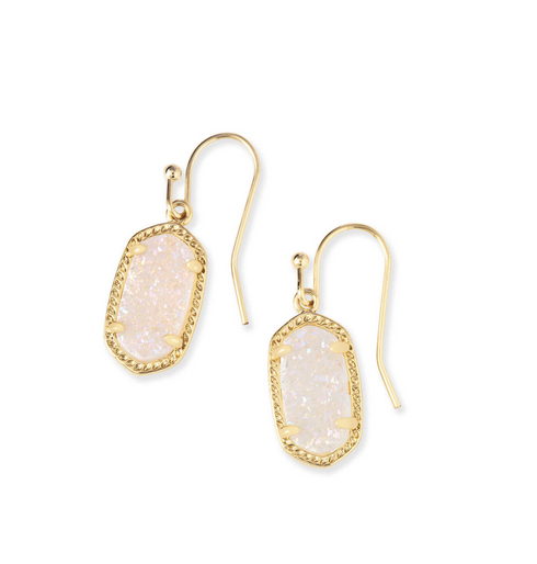 Lee Gold Drop Earrings in Iridescent Drusy