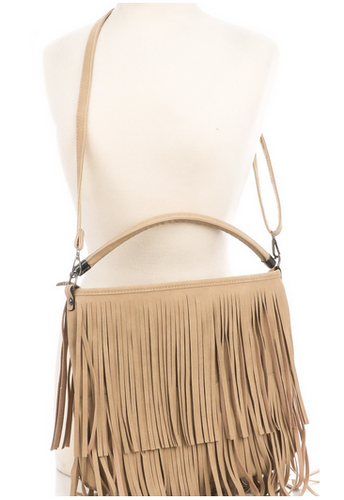 Magnolia Fringe Bag in Beige