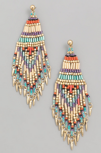 Boho Bead Fringe Earrings