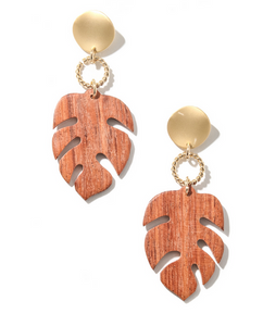 Wooden Monstera Leaf Drop Earrings
