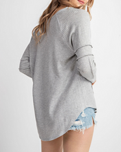 Lana Waffle Knit Top in Grey