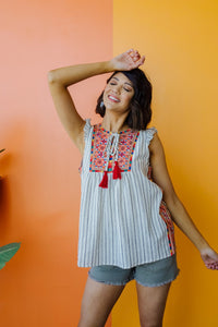 Tassels Rule Embroidered Top