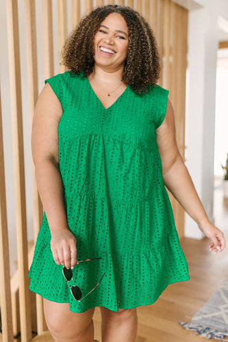 Warm Wishes Eyelet Dress in Green