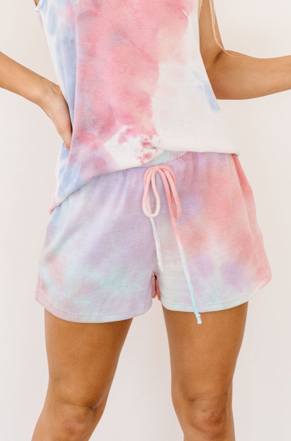Watercolor Tie Dye Shorts In Pink