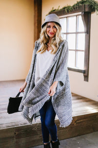 Hooded Sweater Poncho In Heather Coal