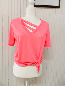 Elsie Casual Knit Top in Neon Pink