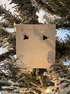 Perry Stud Earrings in Gold with Black Drusy