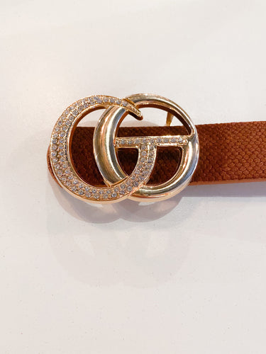 In The City Belt Crystal Buckle in Brown