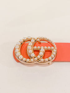 In The City Belt Pearl Buckle in Coral