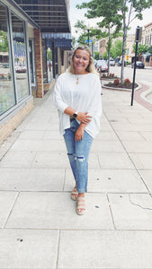Coffee Run Oversized Waffle Knit Top in Ivory
