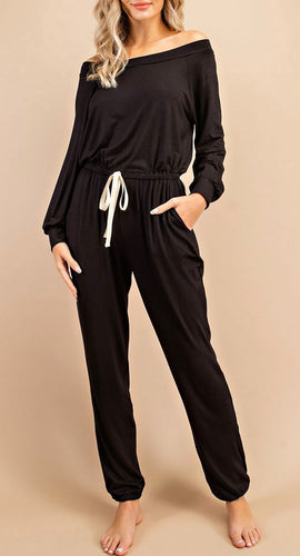 Julia Off The Shoulder Jumpsuit in Black