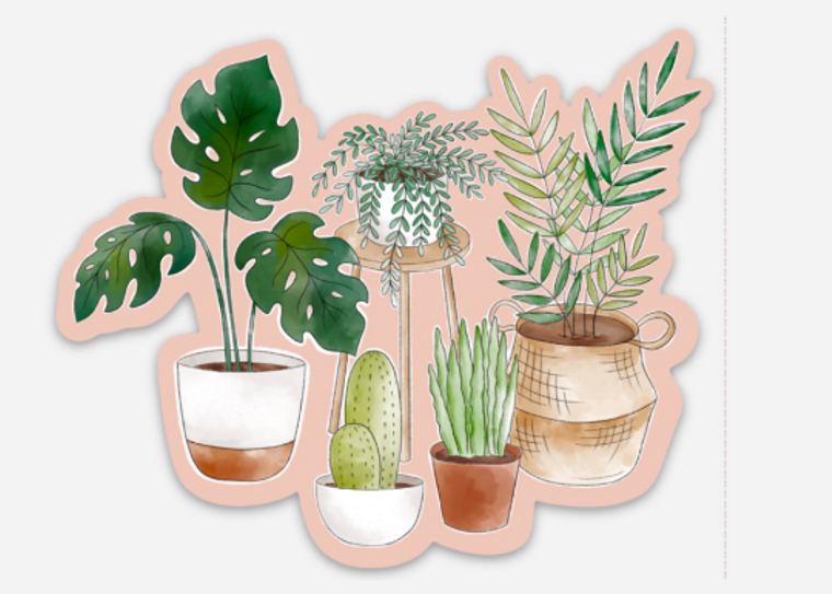 Potted Plants Watercolor with Pink Background Sticker