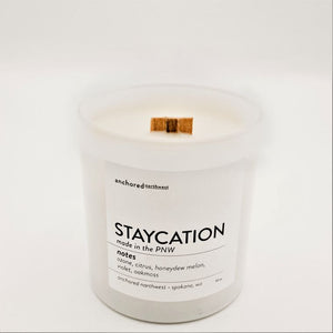 Staycation - White Tumbler w/ cover