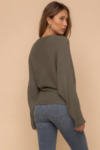 The Chrishell Dolman Sweater Top in Olive