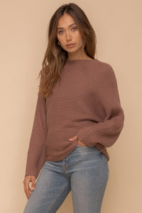 The Chrishell Dolman Sweater Top in Mocha