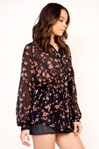 Olivaceous Cherry Blossom Blouse